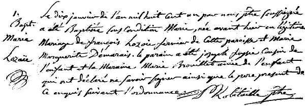 Baptême de Marie Lozoie 1801